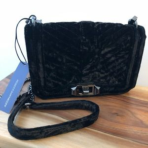 Rebecca Minkoff Black Crushed Velvet Purse Bag